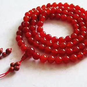 创汇时期 天然樱桃红 玛瑙108粒 链 颗颗莹润 红色诱人