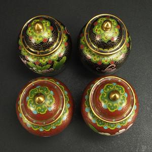 民国 铜胎掐丝珐琅镶嵌 盖罐  四个