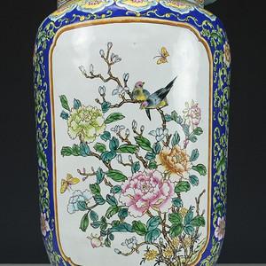 美国回流 铜胎画珐琅彩  花绘纹 大盖罐