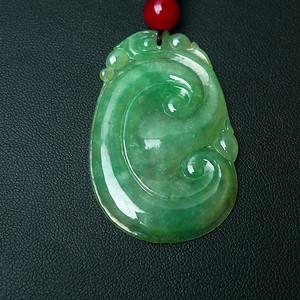 缅甸老坑A货翡翠冰种阳绿吉祥如意吊坠