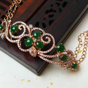 缅甸老坑A货翡翠925k金镶嵌冰种辣绿圆珠手链