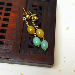 缅甸老坑A货翡翠冰润双彩珠形耳环