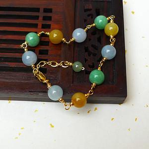 缅甸老坑A货翡翠冰润双彩圆珠手链
