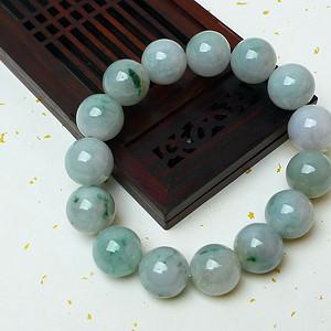 缅甸老坑A货翡翠冰润带阳绿圆珠手链