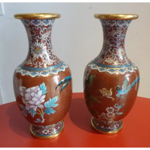 创汇期铜胎鎏金景泰蓝凤戏牡丹