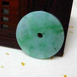 缅甸老坑A货翡翠冰种带阳绿平安扣吊坠