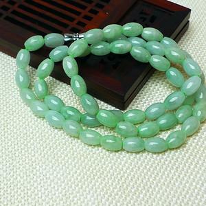 缅甸老坑A货翡翠冰润浅绿腰鼓珠项链
