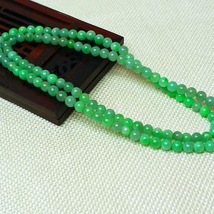 缅甸老坑A货翡翠冰润阳绿圆珠项链