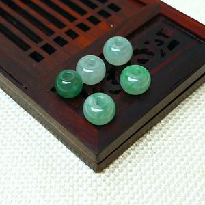 缅甸老坑A货翡翠冰种带阳绿圆珠套组
