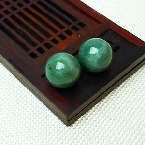 缅甸老坑A货翡翠冰润满绿圆珠套件