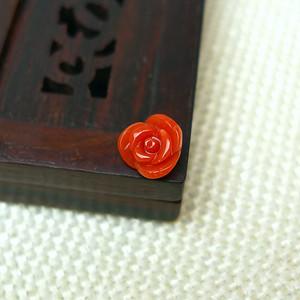 缅甸老坑珊瑚红玫瑰吊坠