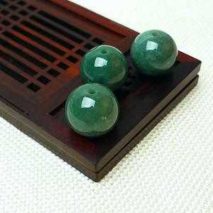 缅甸老坑A货翡翠冰润满绿圆珠套组
