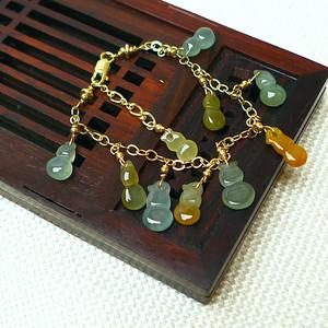 缅甸老坑A货翡翠14k金镶嵌冰种三彩葫芦手链