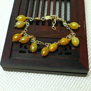 缅甸老坑A货翡翠14k金镶嵌冰种褐黄圆珠手链