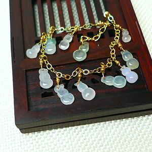 缅甸老坑A货翡翠14k金镶嵌冰种带阳绿葫芦手链