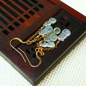 缅甸老坑A货翡翠14k金镶嵌冰种带绿葫芦耳环