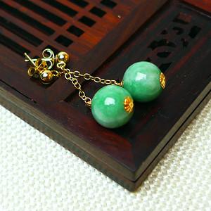 缅甸老坑A货翡翠14k金镶嵌冰润辣绿圆珠耳环