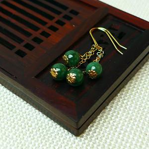 缅甸老坑A货翡翠14k金镶嵌冰润祖母绿圆珠耳环