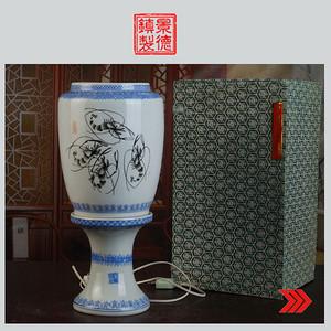 景德镇陶瓷 全手工粉彩虾戏图玲珑100件薄胎皮灯 薄如纸