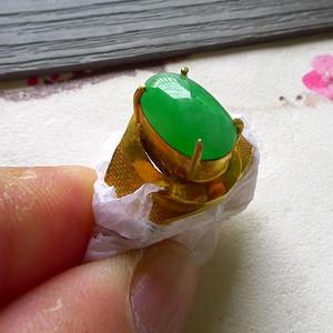 金牌  缅甸天然A货翡翠阳绿色界面托铜戒指