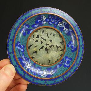 清代  铜胎掐丝珐琅镶嵌  天然玉石   大盘