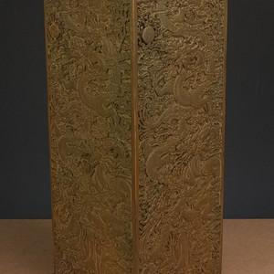 美国回流 20世纪 高浮雕双龙纹 大笔筒