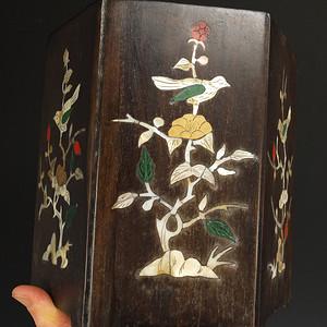清代 镶嵌螺鈿 花鸟纹  笔筒