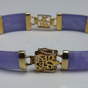 美国回流 鎏金镶嵌 天然紫色翡翠 手链