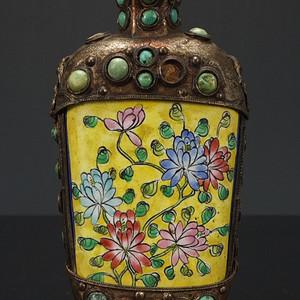 清代 铜胎画珐琅镶嵌天然绿松石 鼻烟壶