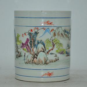 80年代仿王少维 湖光山色 粉彩笔筒