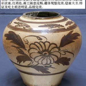 金牌 磁州窑菊花文大罐