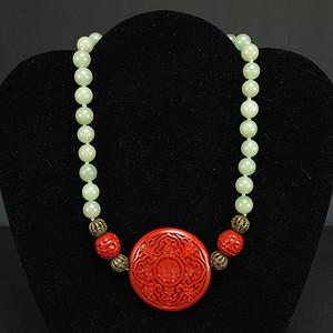 民国 印度玉镶嵌剔红漆雕 项链