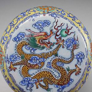 民国  铜胎画珐琅 龙纹   盖罐