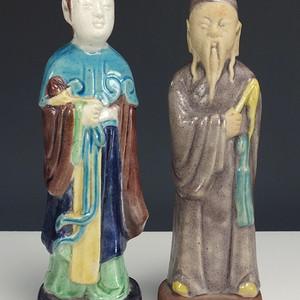 清代中早期 秞瓷塑 摆件一对