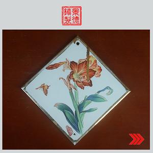 景德镇文革老厂瓷器 精品收藏 粉彩描金花卉图三角牌瓷板