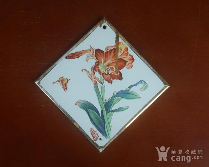 景德镇文革老厂瓷器 精品收藏 粉彩描金花卉图三角牌瓷板图2