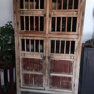 清代 榉木嵌竹书柜
