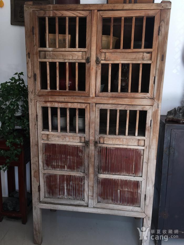 清代 榉木嵌竹书柜图1