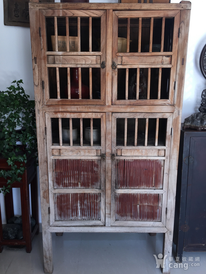 清代 榉木嵌竹书柜图2