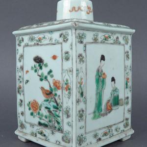 清五彩仕女人物茶叶罐