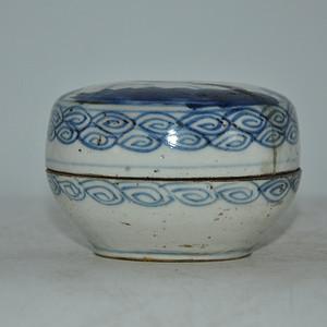 清代中期人物青花瓷盒