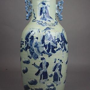 清豆青釉青花八仙300件大瓶