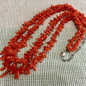 金牌 几十年的红珊瑚小枝子双股项链