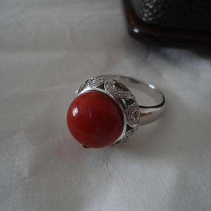 直径11.5mm珠形  阿卡珊瑚戒指
