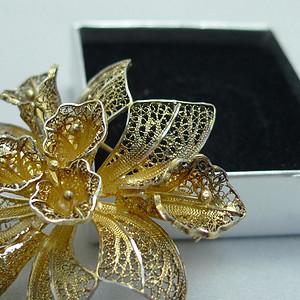 欧式掐丝银鎏金胸针 德国工  183 手工