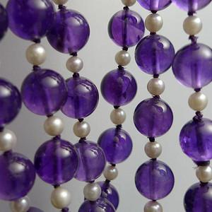 欧洲原工天然紫水晶 珍珠项链
