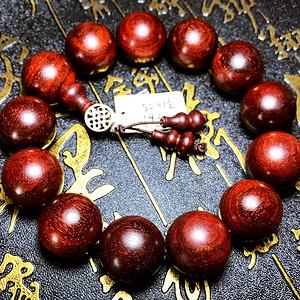 天然印度小叶紫檀老料超多金星19MM大珠圆珠佛珠手串