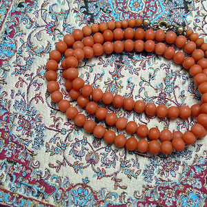 地中海天然沙丁珊瑚圆珠项链