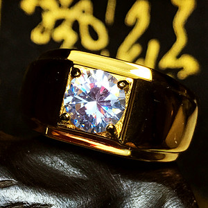 1.5克拉D色F级VG切工美国进口莫桑钻镀18K黄金大戒指