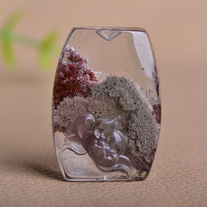 金牌 天然水晶幽灵花开富贵精工雕件
